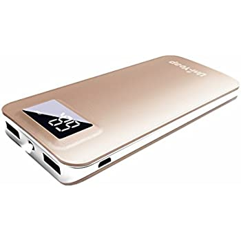 Uni-Yeap 11000mAh RoHs Power Bank with Safety Charging Conversion System and Ultra Slim with Screen for iPhone7 7Plus 6s 6 Plus, iPad, Samsung Galaxy and More (GOLD)