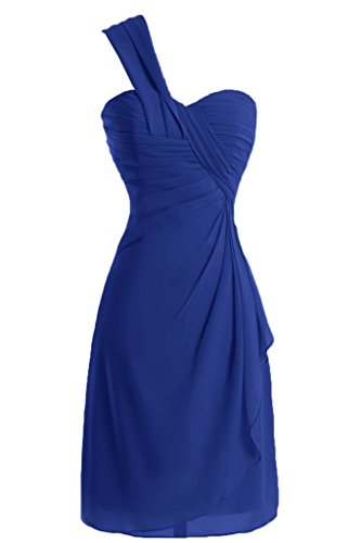 sunvary a-line One-Shoulder Ruched gasa cóctel vestidos Homecoming azul real