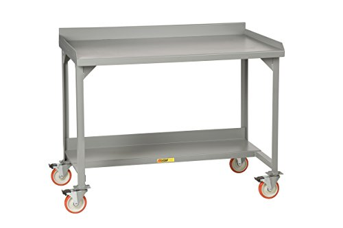 """Little Giant WM-2860-E Welded Steel Mobile Workbench with Back and End Stops, 1 Half-Shelf, 36"""" x 60"""" x 28"""", Gray"""