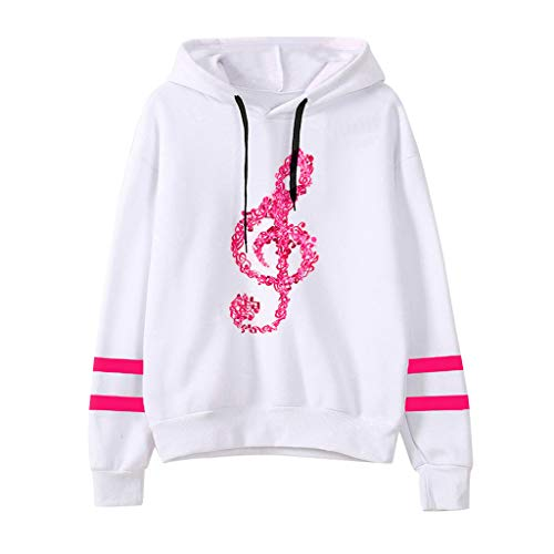Sunhusing Ladies' Musical Notes Printing Long Sleeve Drawstring Hoodie Sweatshirt Pullover Top Hot Pink