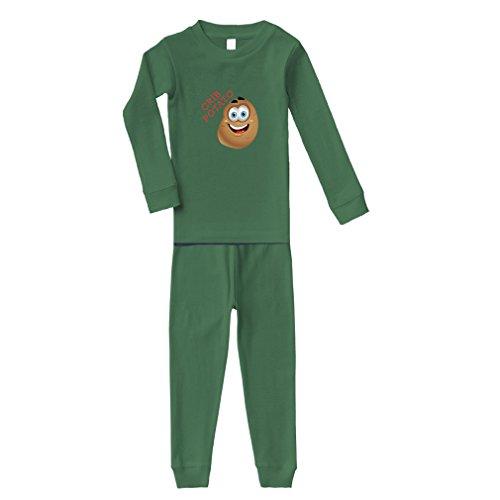 Crib Potato Cotton Long Sleeve Crewneck Unisex Infant Sleepwear Pajama 2 Pcs Set Top and Pant - Kelly Green, 6 Months