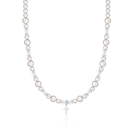 Communion Swarovski White Simulated Pearls Crystals Sterling Silver Cross Charm Girl Necklace with Swarovski White Simulated Pearls and Crystals (NCRSS)