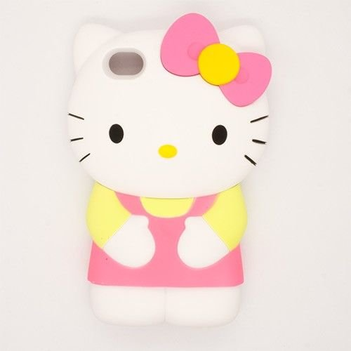 Hello Kitty Apple Sanrio (Hello Kitty Cute 3D Hard Back Case Skin Cover for iPhone 4 / 4S (Pink & Yellow))