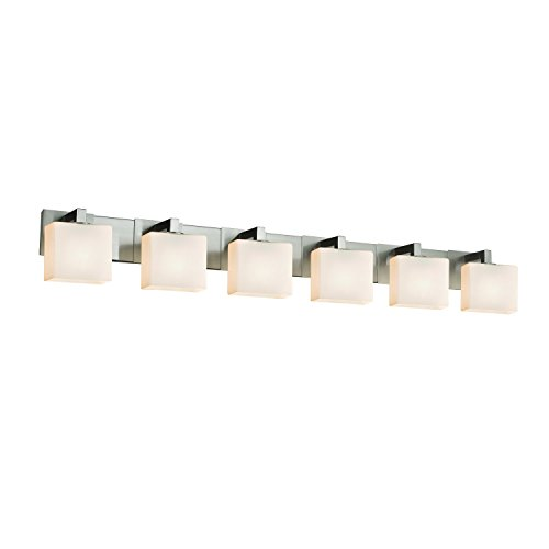 Justice Design Group Lighting FSN-8926-55-OPAL-NCKL Justice Design Group - Fusion - Modular 6-Light Bath bar - Rectangle - Brushed Nickel Finish with Opal Shade,