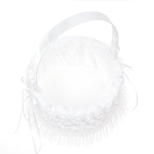 - Kloud City Embroidered Petal Mesh Edge Flower Girl Basket Decorated Pearl Ribbon Wedding Ceremony Favors