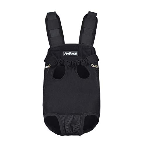 PetBonus Denim Front Kangaroo Pouch Dog Carrier, Wide Straps Shoulder Pads, Adjustable Legs Out Pet Puppy Backpack Carrier Walking, Travel, Hiking, Camping, Black, Small ()