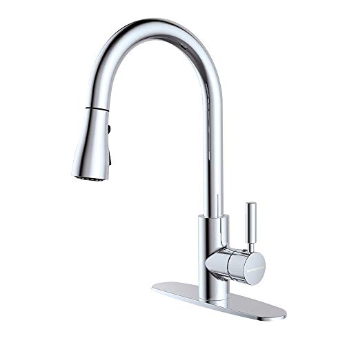 Houtingmaan Single Lever Kitchen Faucet with 10'' Deck Plate, Kitchen Faucets with Pull Down Sprayer, 3 Functions, cUPC/NSF Certified, Chrome Plated