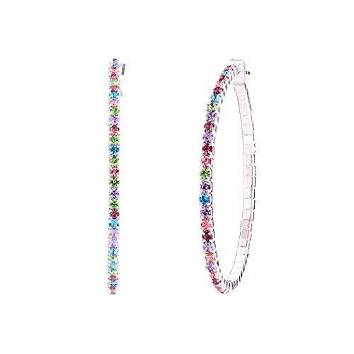 Rosemarie Collections Women's Hypoallergenic Rainbow Crystal Rhinestone Hoop Earrings (Silver Tone 50mm)