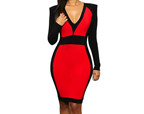 [Black Friday FQHOME Womens Red Black Color Block Long Sleeve Midi Dress Size L] (Group Dressing Up Ideas)