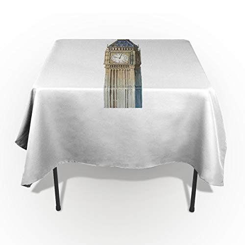ARTSHOWING Modern Rectangle Tablecloth London Big Ben Monument Scene Simple Style Cotton Linen Table Cover for Kitchen Dinning Tabletop Decoration