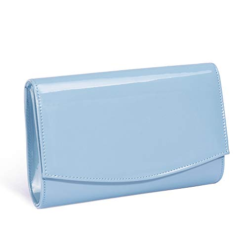 Women Patent Leather Wallets Fashion Clutch Purses,WALLYN'S Evening Bag Handbag Solid Color (Canal Blue)