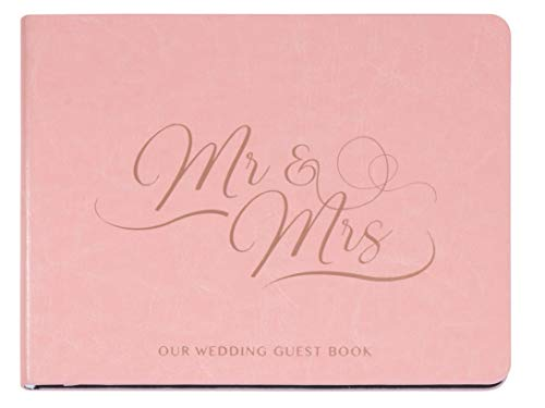 Paper Junkie Wedding Guest Book - 64-Sheet Mr. and Mrs. Guestbook, Wedding Sign-in Registry Book for Guest Signatures and Wishes, Pink Cover with Gold Stamping, 6.2 x 8.25 x 0.6 Inches