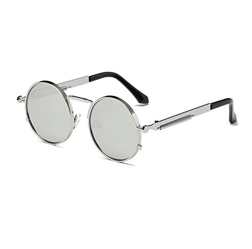 Keephen Argent Argent lunettes soleil Vintage UV400 Hippy Steampunk Lunettes de Round Classique Frame conduite 6r7YxO6