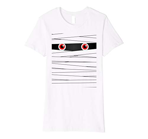 Womens Cute funny Halloween Mummy Face t shirt Medium White