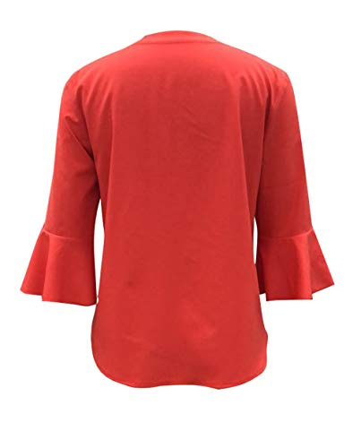 3 Printemps New Col Unie Femmes Lache 4 Couleur Tees et Blouse Orange V Casual T Manches Automne Shirts Chemises Tops Hauts Fashion xq8wxEYSr
