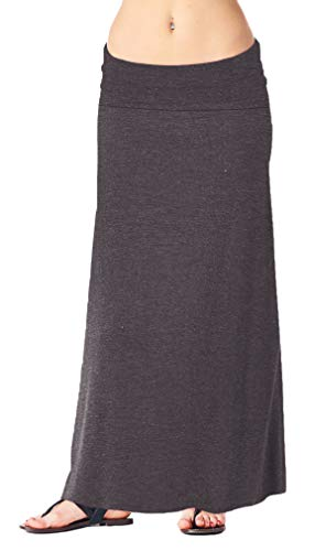 Popana Womens Casual Long Convertible Maxi Skirt Plus Size - Made In USA Charcoal Small ()