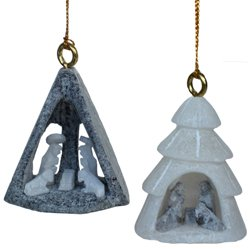 Nativity Ornament Set (4 different designs) - Handcarved Fairtrade Fair Trade Alabaster Stone Carvings (Alabaster Stone Carvings)