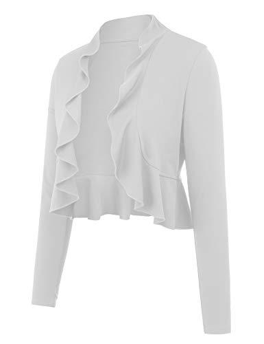 ZEGOLO Women's Long Sleeved Open Front Cropped Cardigan Casual Knitwear Shrug Draped Ruffles Lightweight Cardigans(White-M)