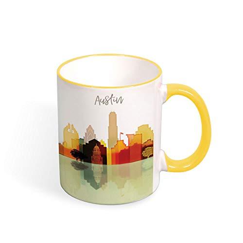Austin Watercolor Coffee Tea Mug, Austin Skyline Cup, Ceramic Mug, Texas Souvenir Travel Birthday Christmas Anniversary Gifts Idea Mug 11oz