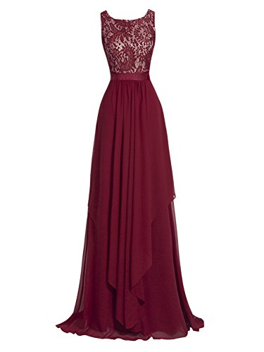 Tanpell Women's Scoop Neck Lace Draped Zipper-up Ankle-Length Evening Dress Burgundy US10