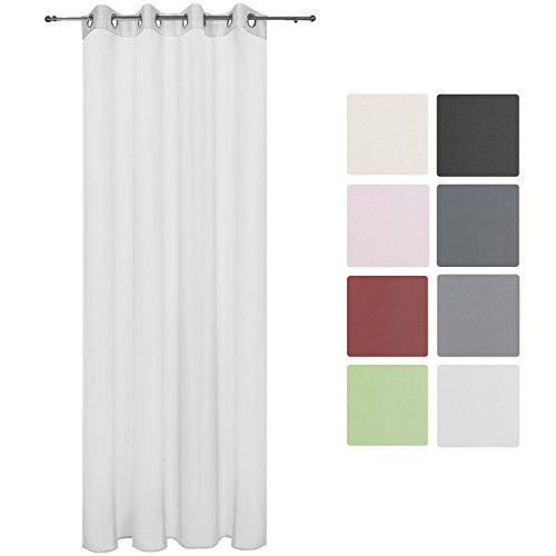 Beautissu® Transparenter Ösen-Vorhang Amelie - 140x245 cm Weiß Uni - Voile Dekoschal Gardine Ösenschal Fenster-Schal