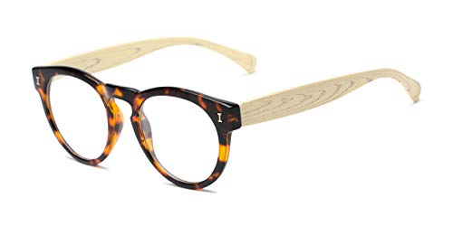 Readers.com Reading Glasses: The Timber Reader, Plastic Round Style for Men and Women - Glossy Tortoise/Wood, 1.50