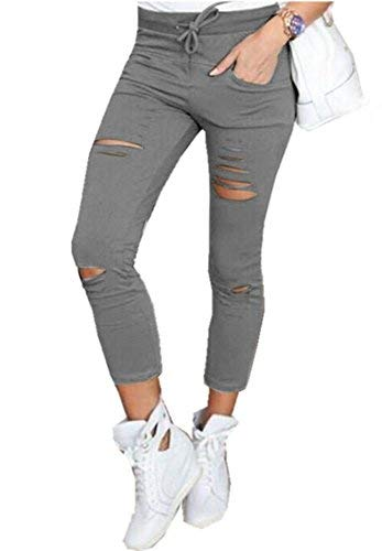 Faaaashion Women Ripped Skinny High Waisted Pants Sexy Capri Stretch Pencil Pants Capris