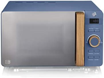 Swan Nordic Microondas digital 20L, 6 niveles funcionamiento, 800W potencia, temporizador 30 min, fácil limpieza, modo descongelar, diseño moderno, tirador efecto madera, azul mate