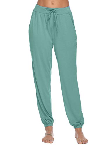 (Aibrou Pajama Pants for Womens Cotton Stretch Knit Lounge Pants Bottoms (Army Green, X-Large) )