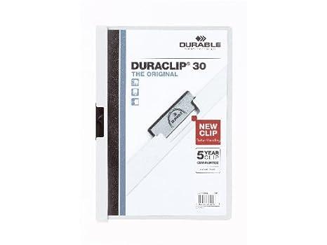 Fichier clip pour 1 /à 60/feuilles A4/ Durable DURACLIP 60 /Lot de 25 30 feuilles noir fonc/é