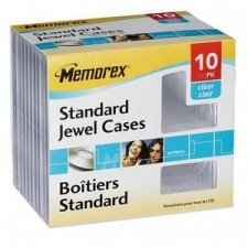Memorex(R) CD Jewel Cases, Standard Size, Clear, Pack of 10 (Jewel Cases)