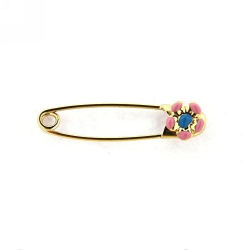 18K YG Safety Pin with Pink and Blue Flower (29mm X 5mm) by Amalia (Image #2)