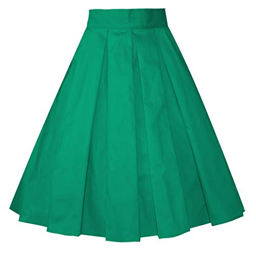 Girstunm Women's Pleated Vintage Skirt Floral Print A-line Midi Skirts with Pockets Green S