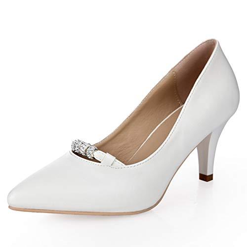 Profesional Fino Alto tacón Zapatos De Salvaje De Boca Poco Solo Trabajo PU Mujer Un de Tacón Yukun Zapato La Profunda Otoño con zapatos alto White con AESREnqwxP