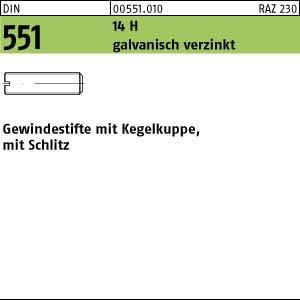 100 Schlitz Gewindestifte DIN 551 14H verzinkt M12x12