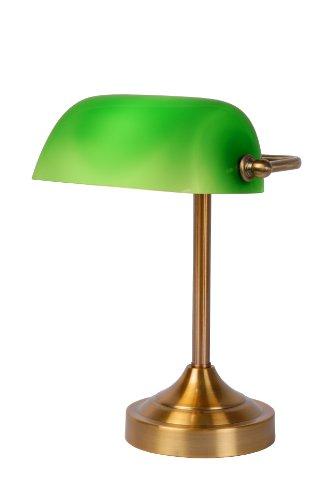Lucide Banker Lampe, E14, 22 x 30 cm, Glas, grün / bronze 17504/01/03