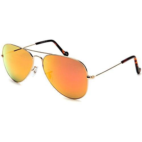 O-Let Mirrored Womens Mens Aviator Sunglasses Girls Boys Aviators Red UV400 Glass Lens with Gift - Glasses Kids Online Cheap