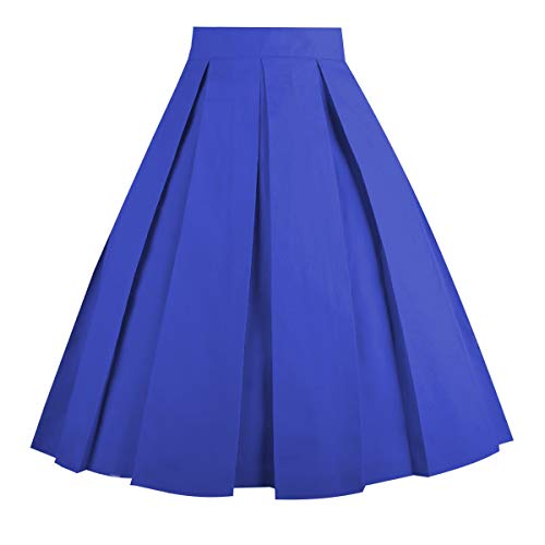Dresstore Vintage Pleated Skirt Floral A-line Printed Midi Skirts with Pockets Royal-Blue-L