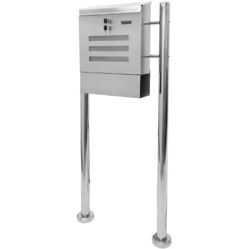 Hochwertiger V2A Edelstahl Standbriefkasten mit Zeitungsfach, 120 cm hoch, Gewicht 5,5 kg
