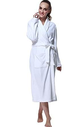 Bathrobe, Drowsy Cloud Soft Women Robes Plush Kimono Collar Bathrobe White In Size XS