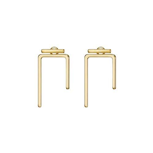 LOYATA Open Triangle Geometric Earring, 14K Gold Plated Unique Piercing Stud Earring Ear Jacket Dangle Earrings for -