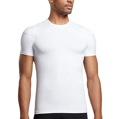 Tommie Copper Mens Pro-Grade Shoulder Centric Support Shirt, White, Medium
