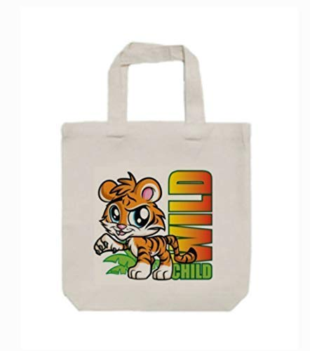 "Wild Child Baby Tiger Boy or Girl Child Children Size Canvas Tote Bag, Books, Toys, Crafts, 13"" X 13"" x 3"", 14"" Handles from All My Favorite Things 3"