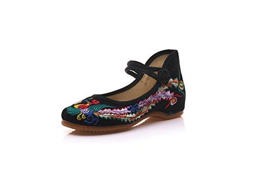 Black A Scarpe Da Tendina Comode Ballo Moda Suola Donna Ricamate Stile Etnico Desy t7wqfCxq