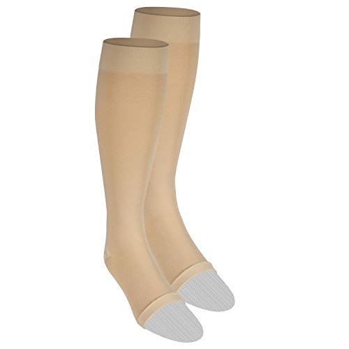 Nuvein Compression Socks for Women and Men, Medical Support Stockings, Beige (Open Toe), Medium (15-20 mmHg)
