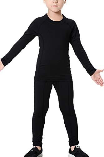 LANBAOSI Boys & Girls Long Sleeve Compression Shirts and Pant 2 Pcs Set, Black2, 10, 26/140