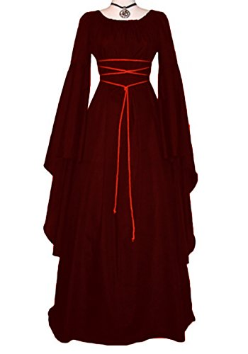 Red Renaissance Dress (Makkrom Women's Renaissance Medieval Irish Gothic Victorian Dress Costume)