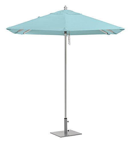 Oxford Garden UAS6MI Brushed Aluminum Frame Mineral Blue Sunbrella Fabric Shade 6.5' Square Sunbrella Market Umbrella