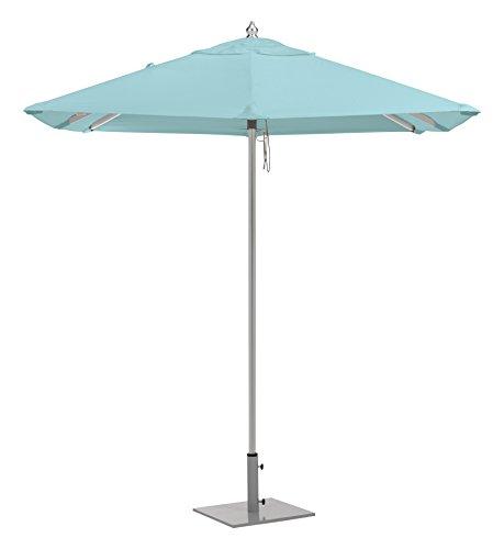 Oxford Garden UAS6MI Brushed Aluminum Frame Mineral Blue Sunbrella Fabric Shade 6.5′ Square Sunbrella Market Umbrella