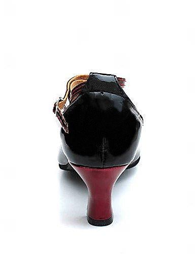 ShangYi Frauen-Multi-Color-Kunstleder Chunky Heel Tanzschuhe mit Schnalle Modern / Ballroom Heels , black and red-us6 / eu36 / uk4 / cn36 , black and red-us6 / eu36 / uk4 / cn36